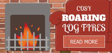 Cosy roaring log fires